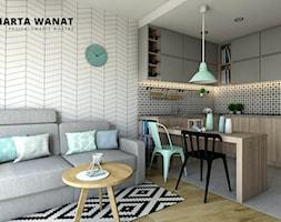 Kraków - mieszkanie 48m2 - Mały kolorowy salon z kuchnią z jadalnią, styl skandynawski - zdjęcie od Marta Wanat Projektowanie wnętrz - Homebook