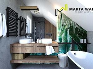 Dom w stylu loft - Średnia biała szara łazienka na poddaszu w domu jednorodzinnym z oknem, styl rustykalny - zdjęcie od Marta Wanat Projektowanie wnętrz