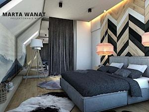 Dom w stylu górskim - Średnia beżowa biała szara sypialnia małżeńska na poddaszu, styl skandynawski - zdjęcie od Marta Wanat Projektowanie wnętrz