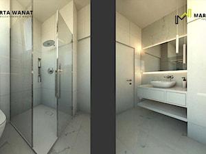 dom w stylu minimalistycznym - Średnia biała łazienka w bloku w domu jednorodzinnym bez okna, styl minimalistyczny - zdjęcie od Marta Wanat Projektowanie wnętrz