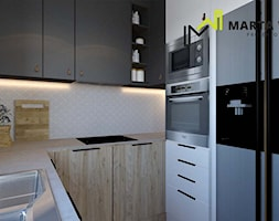 Dom w stylu loft - Mała zamknięta biała szara kuchnia w kształcie litery u, styl rustykalny - zdjęcie od Marta Wanat Projektowanie wnętrz