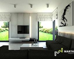 dom w stylu minimalistycznym - Duży szary czarny salon, styl nowoczesny - zdjęcie od Marta Wanat Projektowanie wnętrz