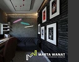 Dom w stylu górskim - Małe czarne szare biuro domowe w pokoju, styl industrialny - zdjęcie od Marta Wanat Projektowanie wnętrz