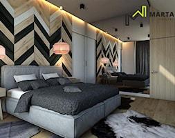 Dom w stylu górskim - Duża beżowa biała sypialnia małżeńska na poddaszu, styl rustykalny - zdjęcie od Marta Wanat Projektowanie wnętrz