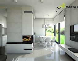 dom w stylu minimalistycznym - Duży szary salon z kuchnią z jadalnią, styl minimalistyczny - zdjęcie od Marta Wanat Projektowanie wnętrz
