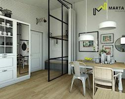 Loft - Średnia otwarta szara jadalnia w kuchni, styl industrialny - zdjęcie od Marta Wanat Projektowanie wnętrz