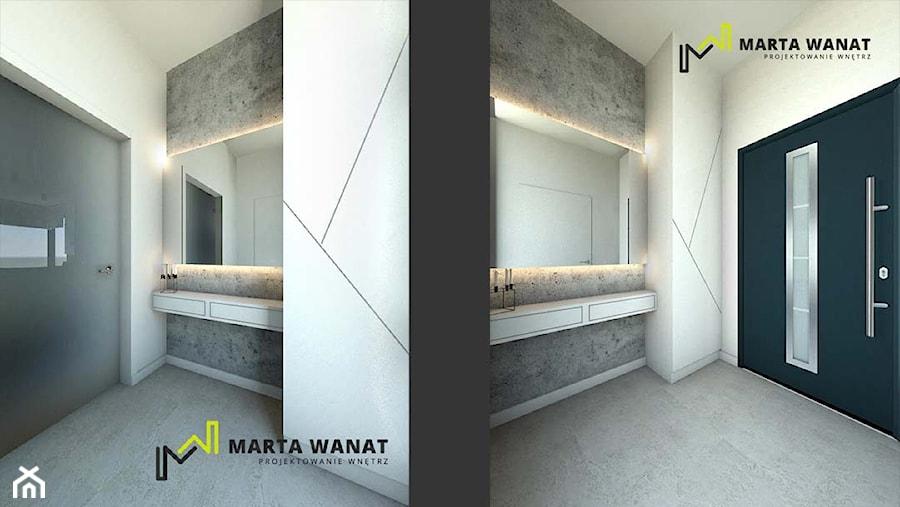 dom w stylu minimalistycznym - Średni biały szary hol / przedpokój, styl nowoczesny - zdjęcie od Marta Wanat Projektowanie wnętrz