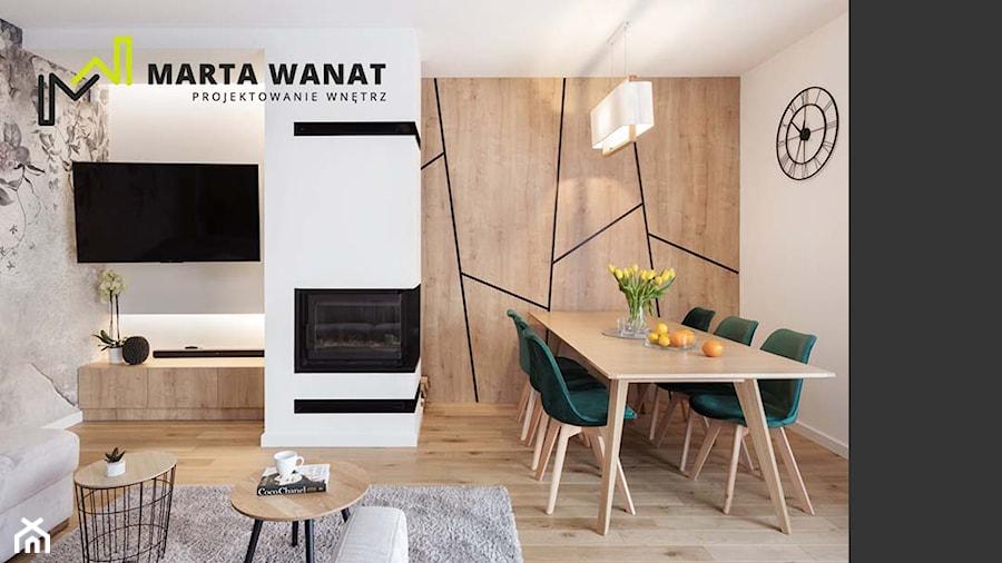 Dom jednorodzinny salon - Średni szary czarny salon z jadalnią, styl nowojorski - zdjęcie od Marta Wanat Projektowanie wnętrz