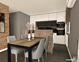 """MIESZKANIE DLA RODZINY - Średnia otwarta szara jadalnia w kuchni, styl nowoczesny - zdjęcie od MANGO STUDIO - projekty wnętrz & wykonawstwo """"POD KLUCZ"""" - ZASTĘPSTWO INWESTORSKIE - projekty wnętrz HoReCa - konsultacje - Homebook"""
