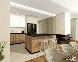 """CICHA PRZYSTAŃ W BEŻACH I POPIELACH - dom 170m2 - Średnia otwarta beżowa kuchnia jednorzędowa w anek ... - zdjęcie od MANGO STUDIO - projekty wnętrz & wykonawstwo """"POD KLUCZ"""" - ZASTĘPSTWO INWESTORSKIE - projekty wnętrz HoReCa - konsultacje - Homebook"""