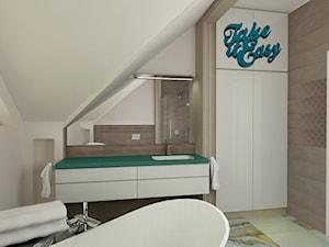"""ŁAZIENKI I TOALETY - Mała biała brązowa łazienka na poddaszu w domu jednorodzinnym z oknem, styl nowoczesny - zdjęcie od MANGO STUDIO - projekty wnętrz & wykonawstwo """"POD KLUCZ"""" - ZASTĘPSTWO INWESTORSKIE - projekty wnętrz HoReCa - konsultacje"""