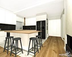 """CICHA PRZYSTAŃ W BEŻACH I POPIELACH - dom 170m2 - Średnia otwarta biała czarna kuchnia w kształcie l ... - zdjęcie od MANGO STUDIO - projekty wnętrz & wykonawstwo """"POD KLUCZ"""" - ZASTĘPSTWO INWESTORSKIE - projekty wnętrz HoReCa - konsultacje - Homebook"""