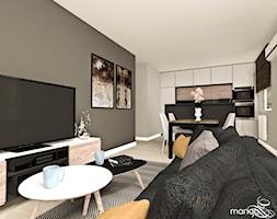 """MIESZKANIE DLA RODZINY - Mały szary czarny salon z kuchnią z jadalnią, styl nowoczesny - zdjęcie od MANGO STUDIO - projekty wnętrz & wykonawstwo """"POD KLUCZ"""" - ZASTĘPSTWO INWESTORSKIE - projekty wnętrz HoReCa - konsultacje - Homebook"""