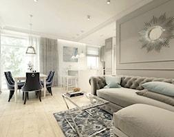 Rodzinny dom w Warszawie - Średni szary biały salon z kuchnią z jadalnią z tarasem / balkonem, styl ... - zdjęcie od HoH studio - Homebook