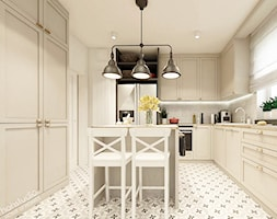 Piękna Praga - Średnia zamknięta biała beżowa kuchnia w kształcie litery l z oknem, styl klasyczny - zdjęcie od HoH studio