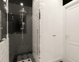 Kamienica na Mokotowie - Mała czarna szara łazienka w bloku w domu jednorodzinnym bez okna, styl kl ... - zdjęcie od HoH studio - Homebook