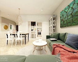 Piękna Praga - Średni szary biały salon z jadalnią, styl klasyczny - zdjęcie od HoH studio - Homebook