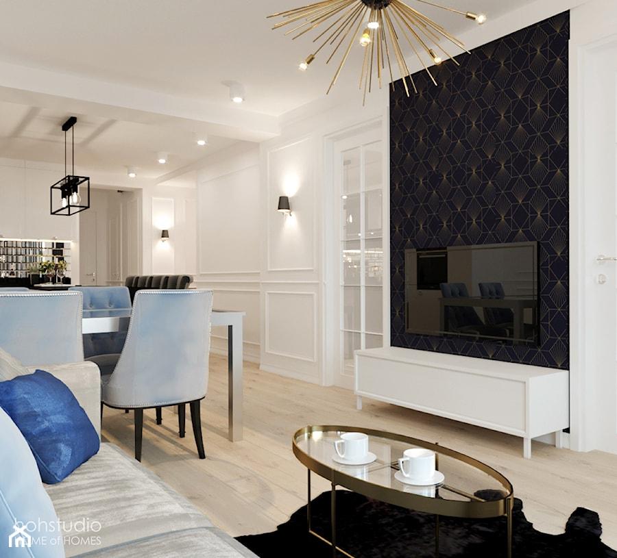 Kamienica na Mokotowie - Mały biały czarny salon z jadalnią, styl klasyczny - zdjęcie od HoH studio
