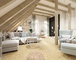 Rodzinny dom w Warszawie - Duży szary biały salon z bibiloteczką, styl vintage - zdjęcie od HoH studio - Homebook