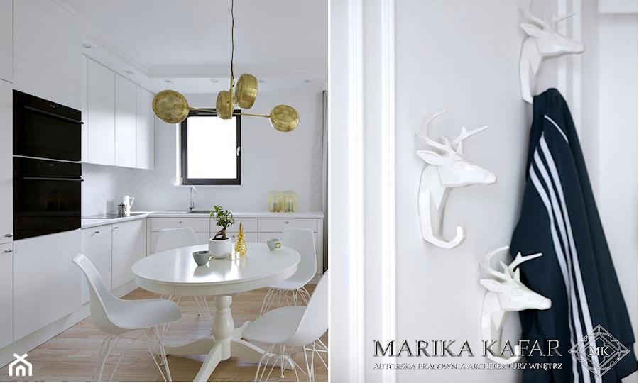 MIESZKANIE WARSZAWA | 48M2 - Średnia otwarta biała kuchnia w kształcie litery l z oknem - zdjęcie od MARIKA KAFAR AUTORSKA PRACOWNIA ARCHITEKTURY WNĘTRZ