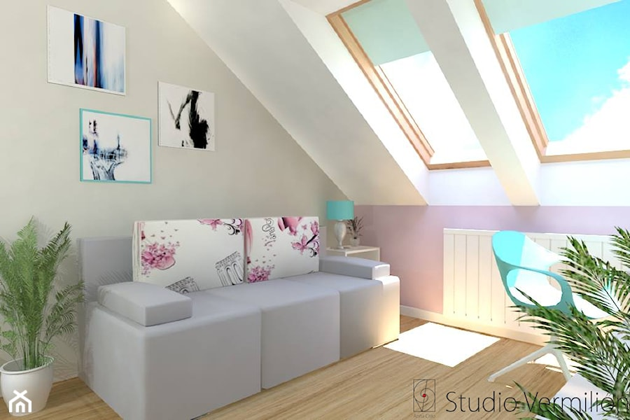 Pokój dziewczynki - Mały biały szary różowy pokój dziecka dla dziewczynki dla ucznia dla malucha dla nastolatka, styl nowoczesny - zdjęcie od Studio Vermilion Anna Cisło