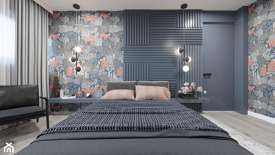 DOM / MSZCZONÓW - Mała czarna kolorowa sypialnia małżeńska, styl nowoczesny - zdjęcie od ZEN Interiors