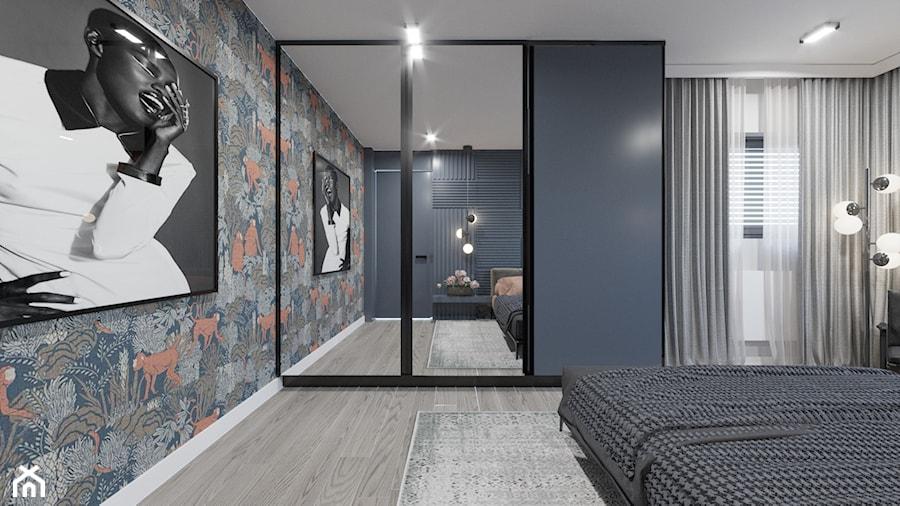 DOM / MSZCZONÓW - Średnia szara czarna sypialnia małżeńska, styl nowoczesny - zdjęcie od ZEN Interiors