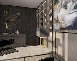 DOM / MAGDALENKA - Średnie beżowe czarne brązowe biuro domowe w pokoju, styl glamour - zdjęcie od ZEN Interiors