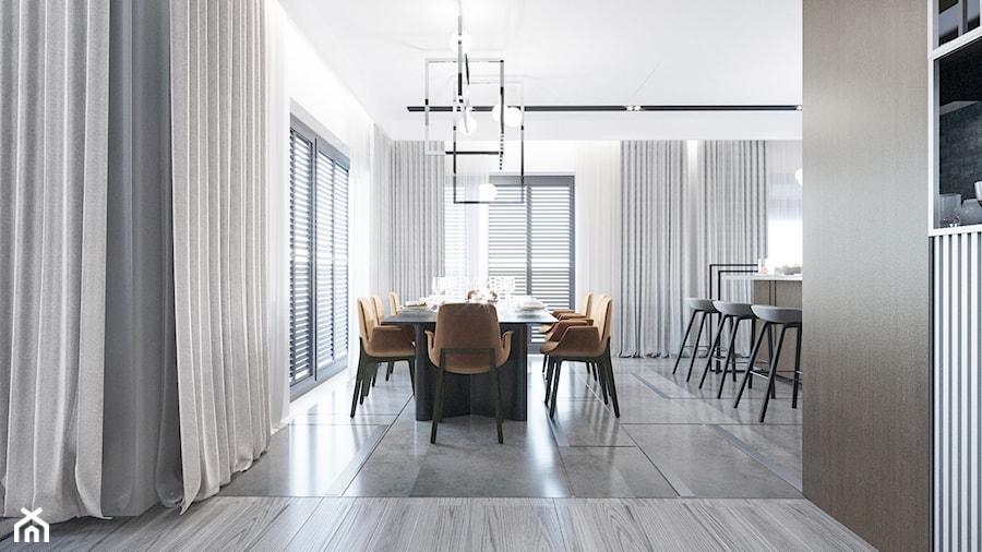 DOM / MSZCZONÓW - Duża otwarta biała jadalnia jako osobne pomieszczenie, styl nowoczesny - zdjęcie od ZEN Interiors