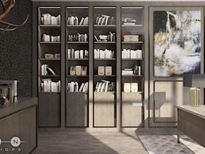 DOM / MAGDALENKA - Średnie czarne brązowe biuro domowe w pokoju, styl glamour - zdjęcie od ZEN Interiors
