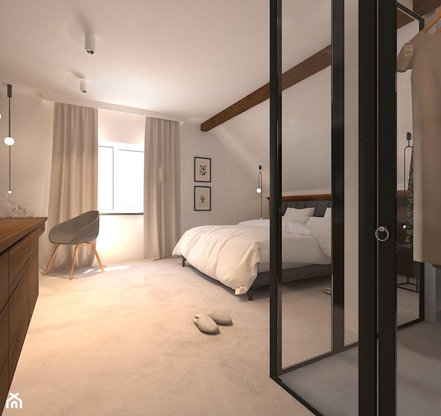 D Interiors Mała Sypialnia: PROJEKT KLIMATYCZNEGO PODDASZA Z FILAREM Z KSIĄŻEK
