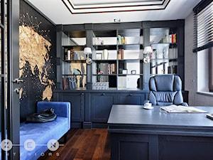 WILLA W RADZYMINIE - Średnie czarne szare biuro domowe w pokoju, styl glamour - zdjęcie od ZEN Interiors