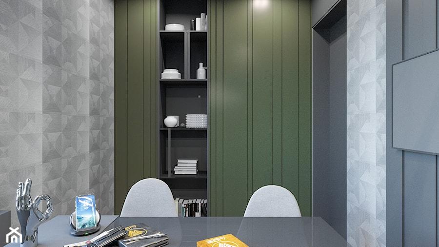 DOM / MSZCZONÓW - Małe szare zielone białe biuro kącik do pracy w pokoju, styl nowoczesny - zdjęcie od ZEN Interiors