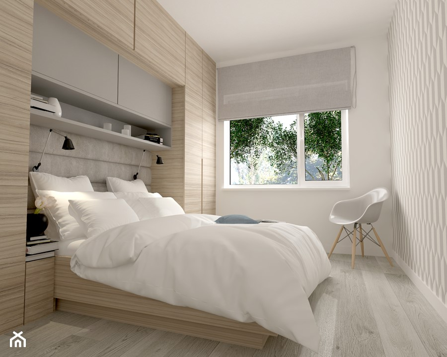 Projekt domu pod Warszawą - Mała sypialnia małżeńska, styl ...