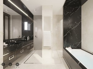 DOM / MAGDALENKA - Średnia beżowa czarna łazienka w bloku w domu jednorodzinnym bez okna, styl klasyczny - zdjęcie od ZEN Interiors