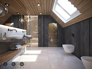 DOM / RADZYMIN - Duża szara łazienka na poddaszu w domu jednorodzinnym jako domowe spa z oknem, styl industrialny - zdjęcie od ZEN Interiors