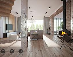 DOM / RADZYMIN - Duży beżowy salon z jadalnią z tarasem / balkonem, styl industrialny - zdjęcie od ZEN Interiors