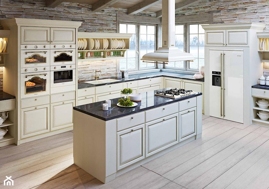 Linia wzornicza Cortina  Duża otwarta kuchnia w kształcie litery l z wyspą,