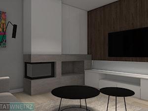 Projekt DOMU JEDNORODZINNEGO ORAZ ZDJĘCIA Z JEGO REALIZACJI - Mały szary biały salon - zdjęcie od WARSZTAT WNĘTRZ