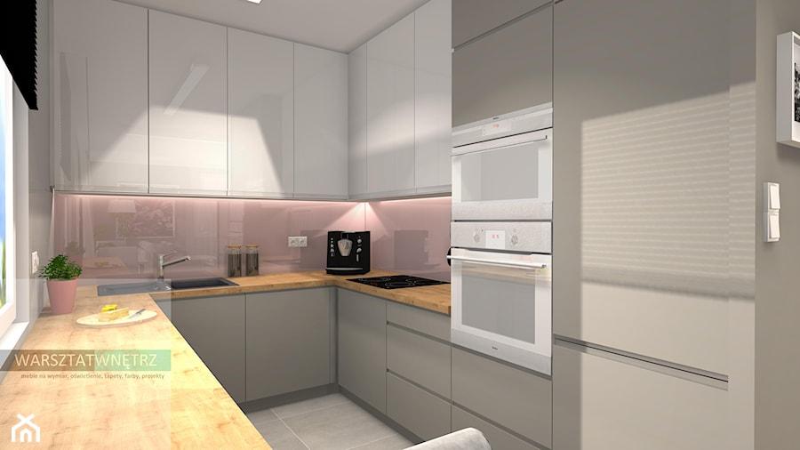 # 0003 - Średnia otwarta wąska szara różowa kuchnia w kształcie litery u z oknem, styl nowoczesny - zdjęcie od WARSZTAT WNĘTRZ