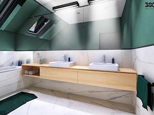 Wnętrza domu o pow. 170 m2 - Średnia biała zielona łazienka na poddaszu w domu jednorodzinnym z oknem, styl nowoczesny - zdjęcie od BscProjekt