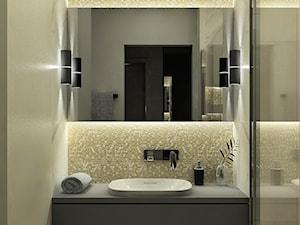 Mieszkanie z antresolą - Mała beżowa szara łazienka w bloku w domu jednorodzinnym bez okna, styl nowoczesny - zdjęcie od BscProjekt