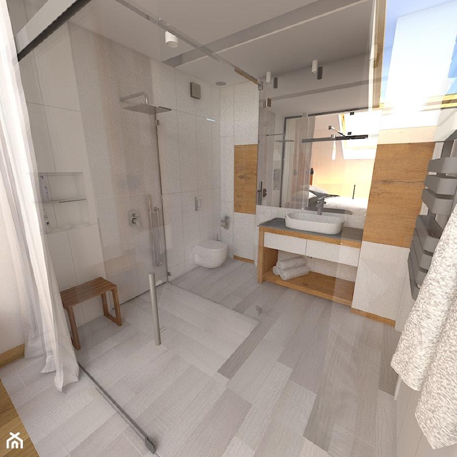 Aranżacje wnętrz - Łazienka: Dwupoziomowy apartament w Gdyni - Średnia łazienka w bloku w domu jednorodzinnym bez okna, styl minimalistyczny - CHATANOWA. Przeglądaj, dodawaj i zapisuj najlepsze zdjęcia, pomysły i inspiracje designerskie. W bazie mamy już prawie milion fotografii!