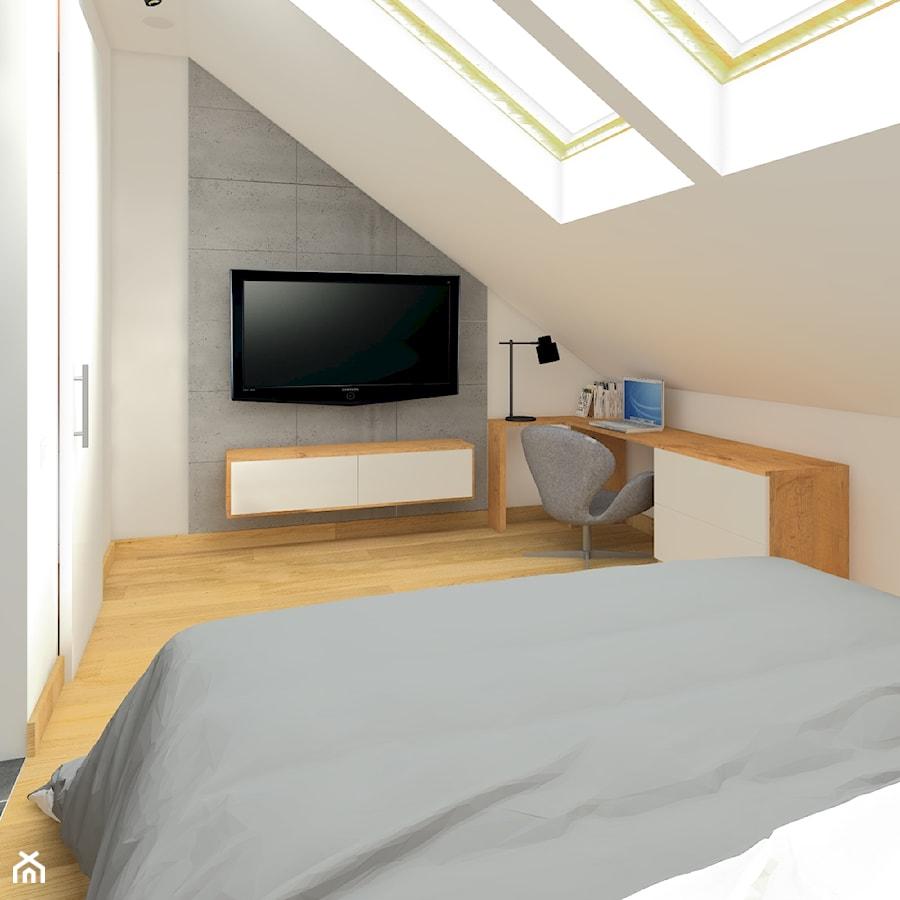 Aranżacje wnętrz - Sypialnia: Dwupoziomowy apartament w Gdyni - Średnia biała szara sypialnia małżeńska na poddaszu, styl industrialny - CHATANOWA. Przeglądaj, dodawaj i zapisuj najlepsze zdjęcia, pomysły i inspiracje designerskie. W bazie mamy już prawie milion fotografii!