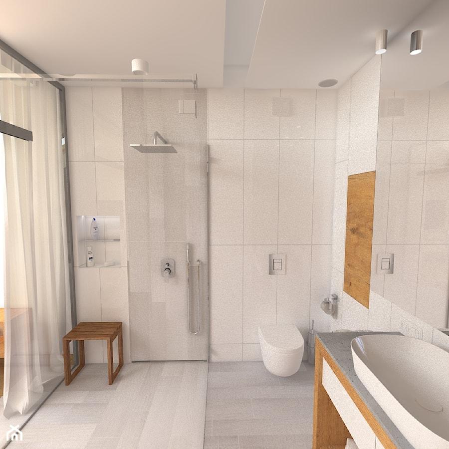Dwupoziomowy apartament w Gdyni - Średnia szara łazienka w bloku w domu jednorodzinnym z oknem, styl minimalistyczny - zdjęcie od CHATANOWA