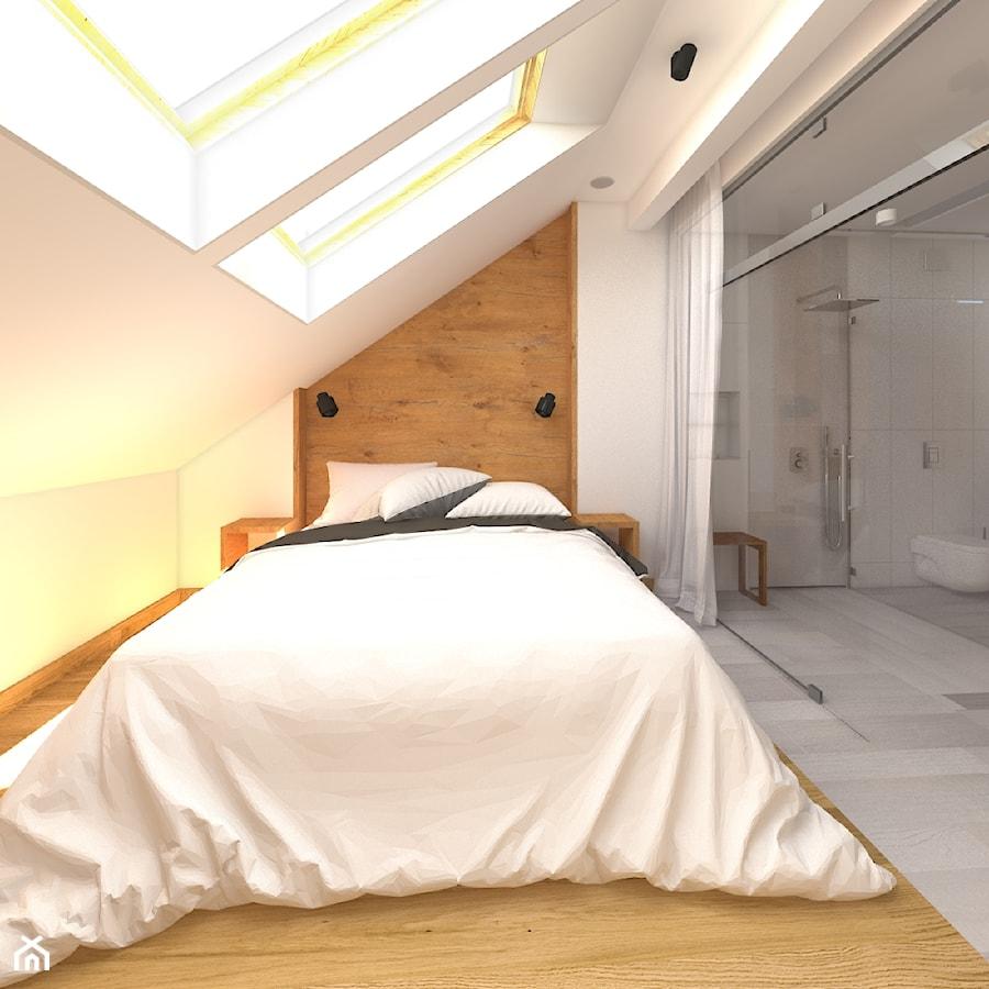 Aranżacje wnętrz - Sypialnia: Dwupoziomowy apartament w Gdyni - Średnia biała sypialnia małżeńska na poddaszu z łazienką, styl minimalistyczny - CHATANOWA. Przeglądaj, dodawaj i zapisuj najlepsze zdjęcia, pomysły i inspiracje designerskie. W bazie mamy już prawie milion fotografii!
