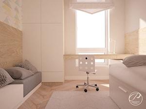 Apartament Lazurowe Ogrody - Mały biały beżowy pokój dziecka dla chłopca dla dziewczynki dla ucznia dla malucha, styl skandynawski - zdjęcie od Progetti Architektura
