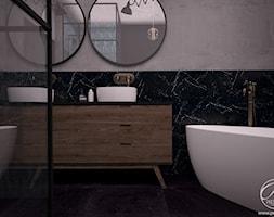 Dom jednorodzinny - Mała czarna szara łazienka w bloku w domu jednorodzinnym bez okna, styl rustykalny - zdjęcie od Progetti Architektura