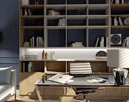 Artystyczny Żoliborz w stylu nowojorskim - Małe niebieskie szare biuro domowe kącik do pracy w pokoju, styl nowojorski - zdjęcie od Progetti Architektura