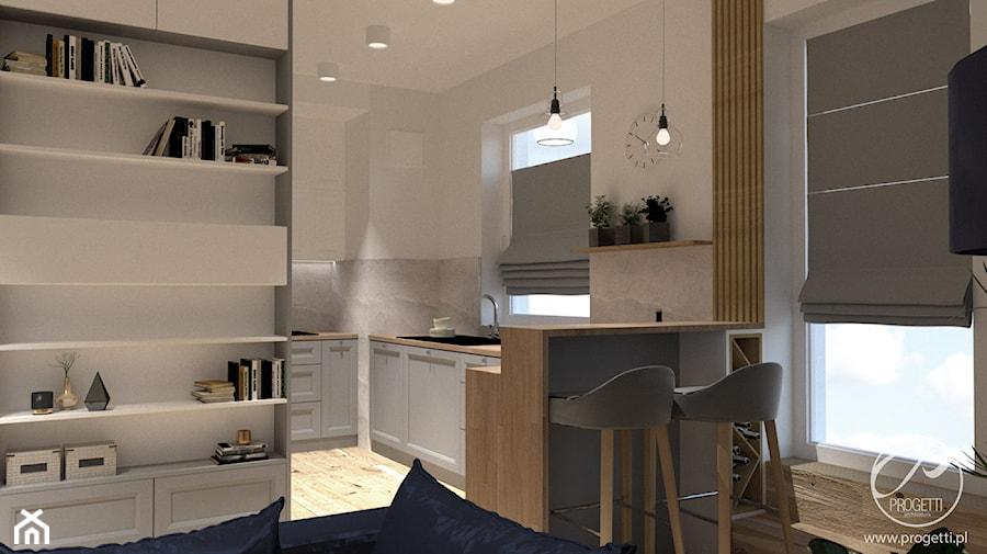 Apartament przy Jana Kazimierza - Średnia otwarta biała kuchnia w kształcie litery l w aneksie z oknem, styl nowoczesny - zdjęcie od Progetti Architektura